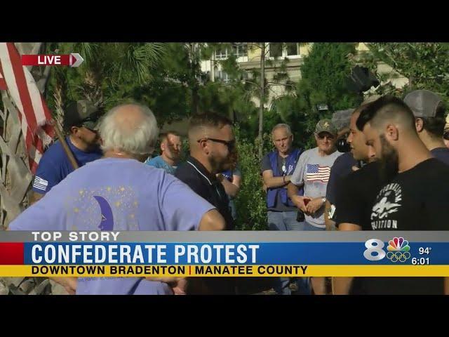 Hostile Confederate Monument Protest In Bradenton Florida
