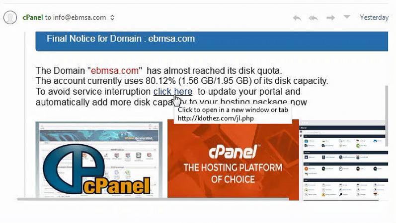 Fraudulent cPanel Disk Usage Warning Phishing Email